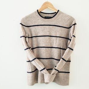 Banana Republic Striped Tan Navy Wool Sweater
